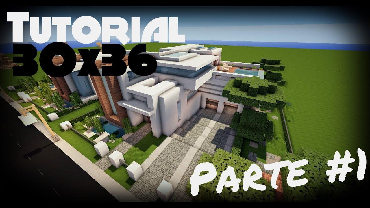 Minecraft como hacer una casa moderna 30x36 6 par for Casas modernas 6 minecraft