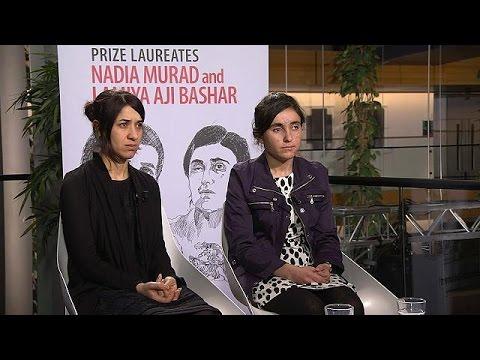 Nadia Murad y Lamiya Aji Bashar reciben...