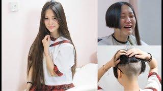Long To Short Chinese Beatuy haircut H12 女優が役作りの為に黒髪ロングをバッサリ断髪、刈上げました。