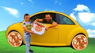 Pretend Play Pizza Delivery | Ride on VW Bug Car Pizza Wheels