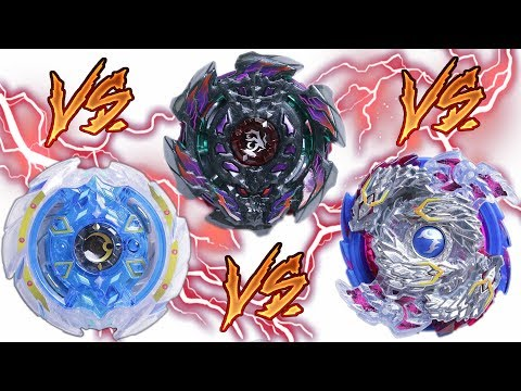 NIGHTMARE LONGINUS vs ARC BAHAMUT vs DEEP CHAOS | Beyblade Burst ベイブレードバースト