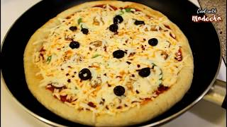 PIZZA ON PAN RECIPE - How To Make Pizza Without Oven By (Cook with Madeeha)