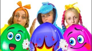 Balloons song by Tawaki kids\Pretend play with color balloons