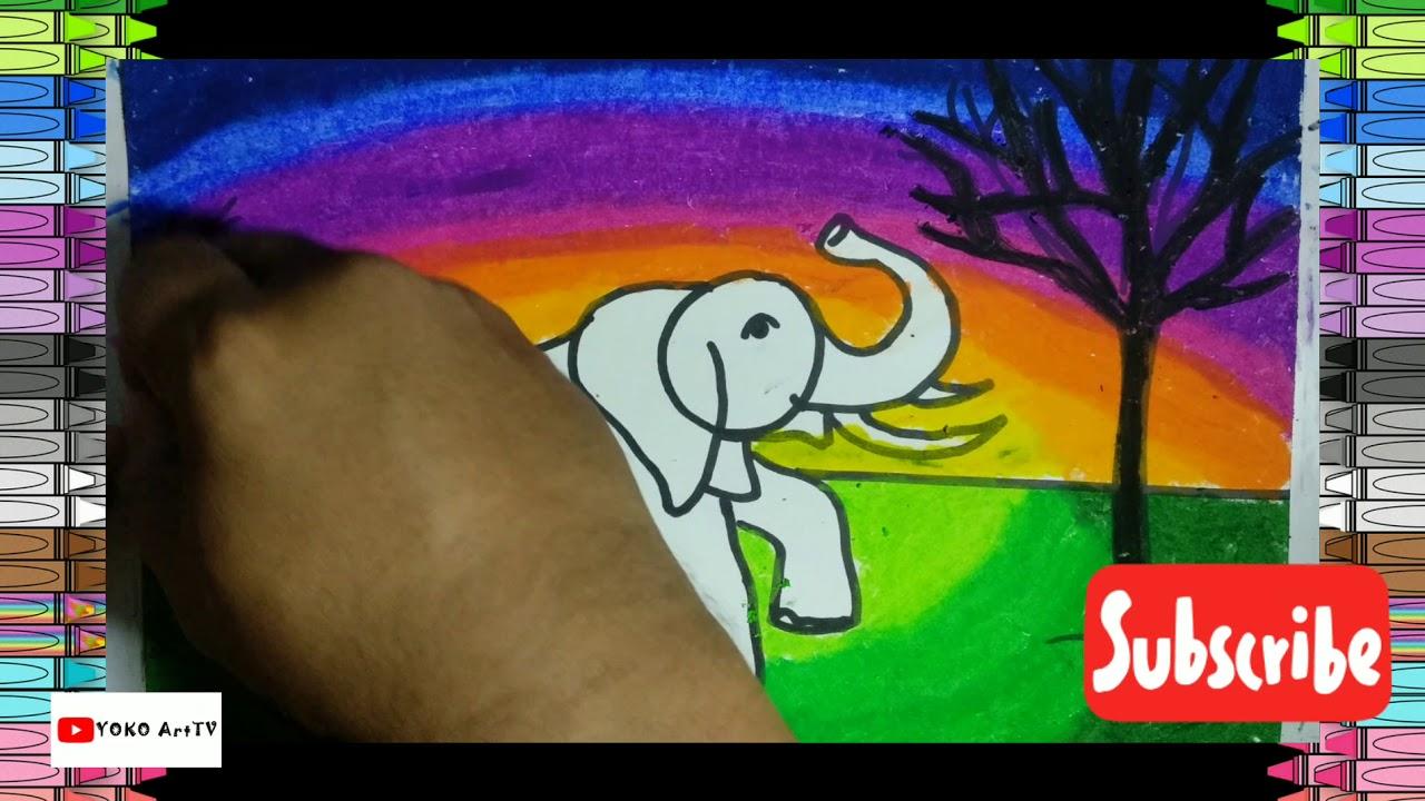 Cara menggambar binatang gajah(elephant) - YouTube