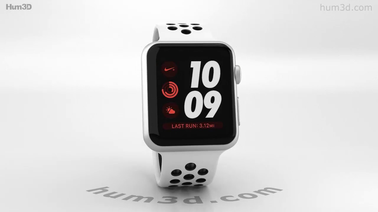 Apple Watch Series 3 Nike+ 38mm Silver Case Pure Platinum Black Sport Band  3D model by Hum3D.com 4389b52e3bf