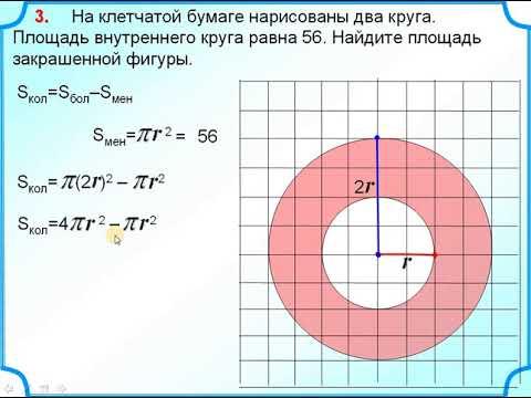 Как найти площадь кольца на клетчатой бумаге