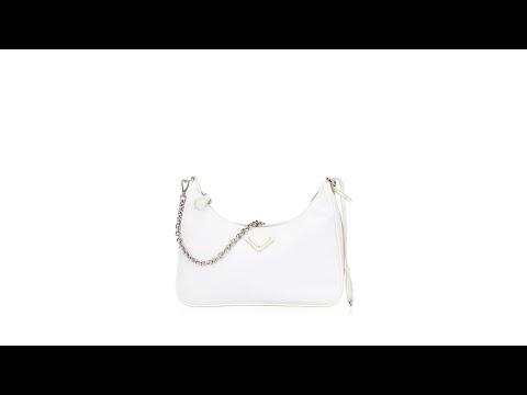 Prada 1BH204 2005 Re-Edition Tessuto Shoulder Bag with Pochette Bianco