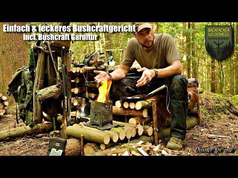 Gemütliche Bushcraft Garnitur und Dinner for one - tief im Wald  - Einfach und Super lecker -