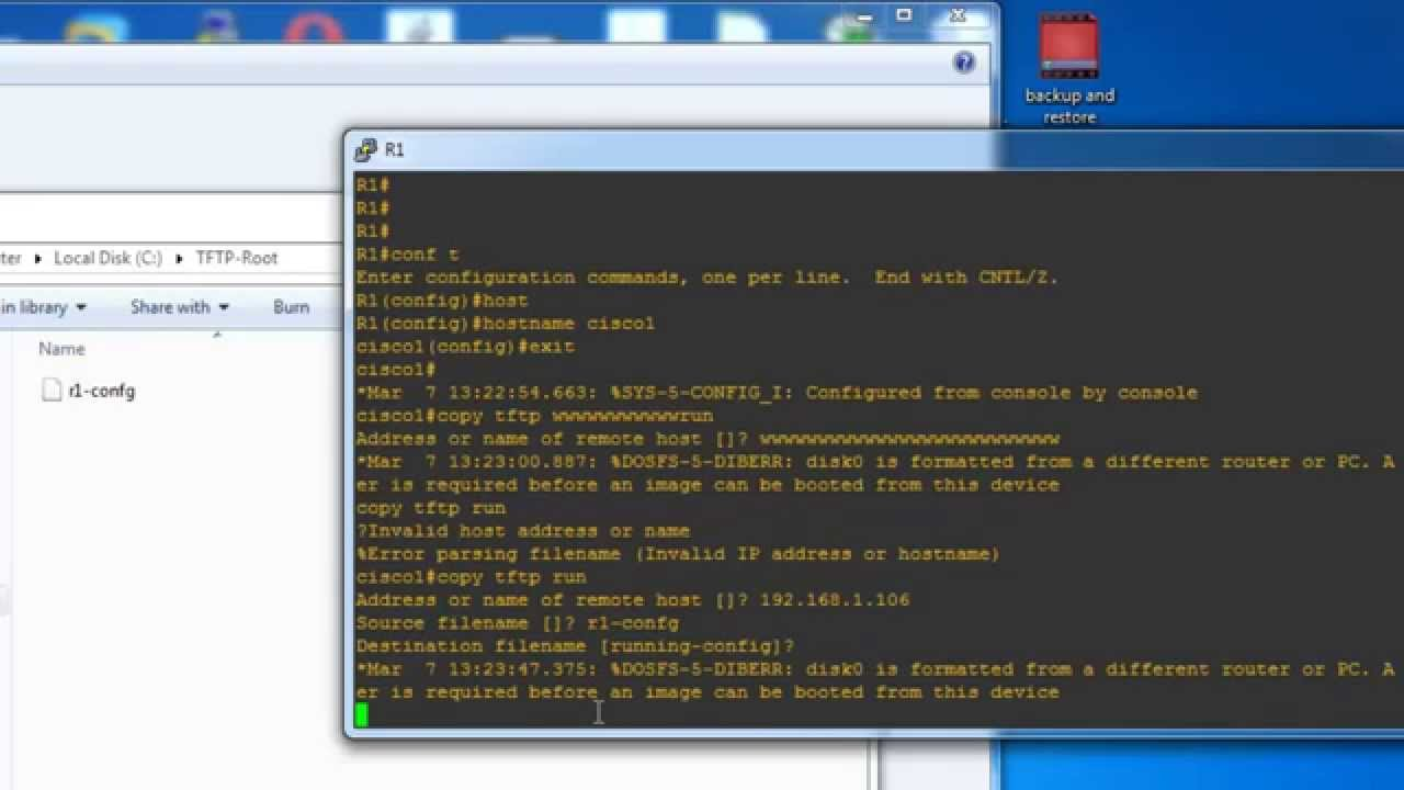 Backup and Restore Cisco Configuration file - Cisco backup Config