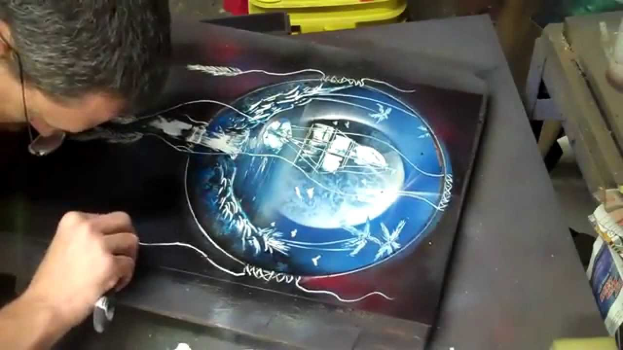 Awesome spray paint art dream sailing youtube for Dream catcher spray painting