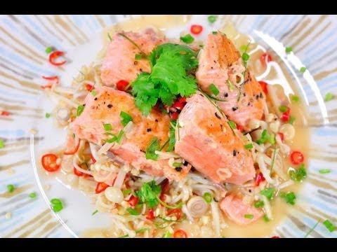 ยำปลาแซลมอนสมุนไพร