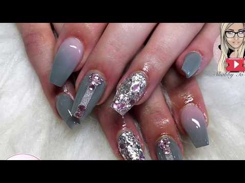 Grey and pink acrylic nails ~ coffin nails ~ glitter nails ~ glam and glits ~ glitterbels