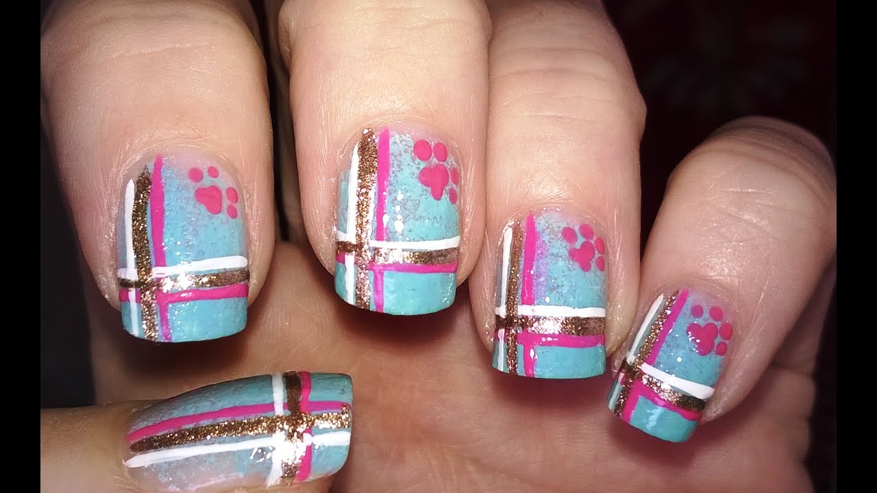 Easy nail art designs! #6 - Colorful ombre PLAID NAILS with dog paw ...