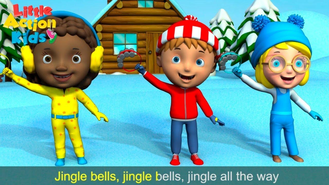 Jingle Bells With Lyrics | Children's Christmas Songs & Carols | Sing & Dance Little Action Kids ...