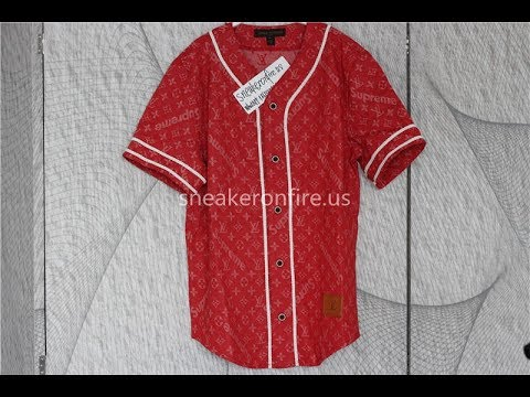 69fcbe5ef3 Brand Supreme Denim Baseball Jersey Red Review from sneakeronfire.us ...