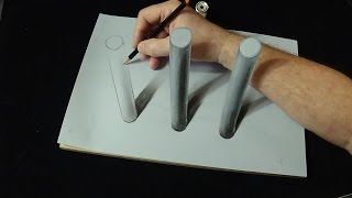 How is it Possible? - 3D Drawing Cylinders Trick - It's Impossible?