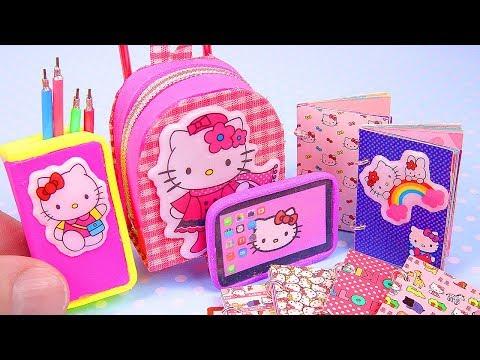 DIY Miniature Hello Kitty School Supplies ~ notebooks, tablet, etc