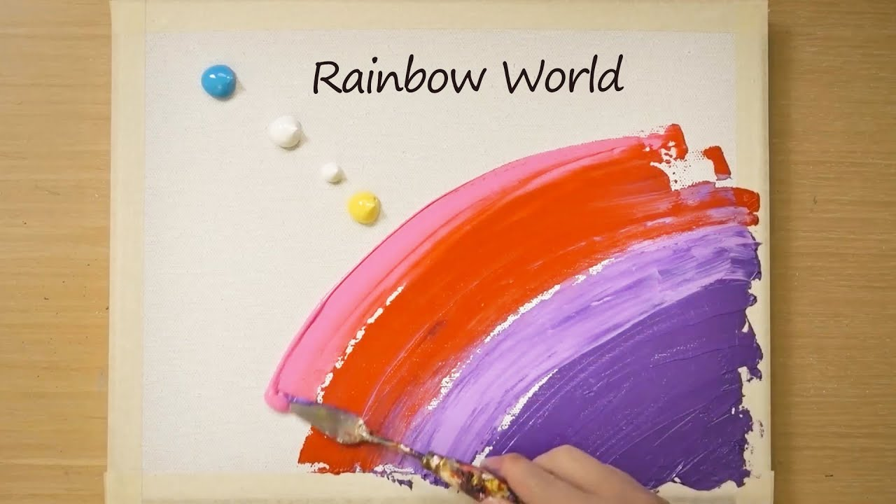 Rainbow World Painting / Blue Mountain / Easy Masking Tape Painting