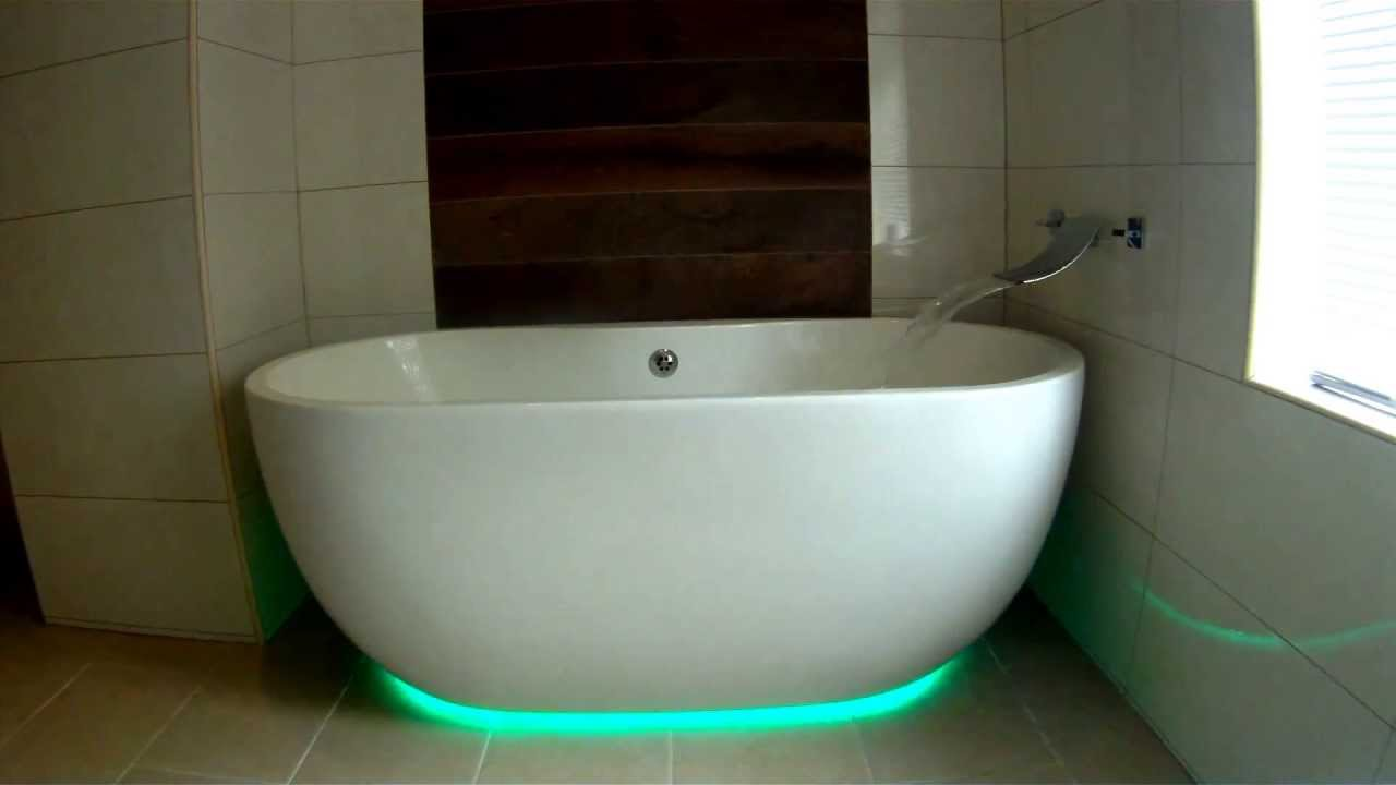LED mood lighting under free standing bath - Cutts Plumbing - YouTube