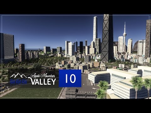 Cities Skylines Apple Mountain Valley - Part 10 - Downtown Police Station & Entertainment District