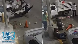 Captan otro choque en cruce donde auto embistió moto con familia en Sinaloa