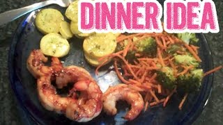 Dinner Idea - Teriyaki Grilled Shrimp With Roasted Broccoli, Carrots, & Yellow Squash