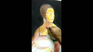 Lady with ermine - Applying pastel on neck