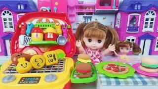 Đồ Chơi Trẻ Em Búp Bê Barbie Bé Kem làm bánh Pizza, nướng thịt BBQ - Bộ Đồ Chơi Nấu Ăn Cho Bé