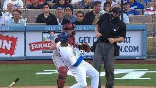 puig s bat flip nearly hits catcher umpire
