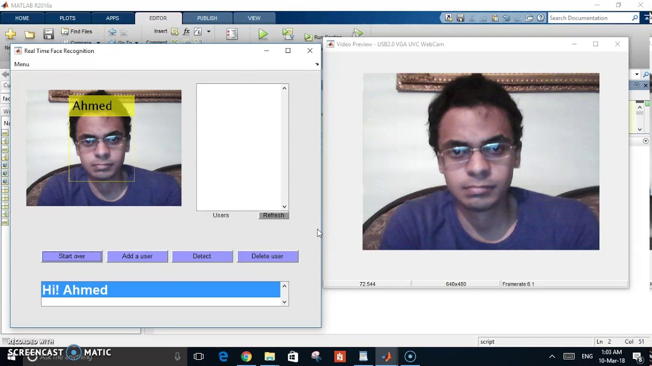 Real time face recognition using MATLAB