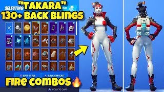 "NEW ""TAKARA"" SKIN Showcased With 130+ BACK BLINGS! Fortnite Battle Royale (BEST TAKARA COMBOS)"