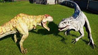 GIGANOTOSAURUS MAX Vs I-REX,T-REX,SPINOSAURUS,INDORAPTOR,ALLOSAURUS - Jurassic World Evolution