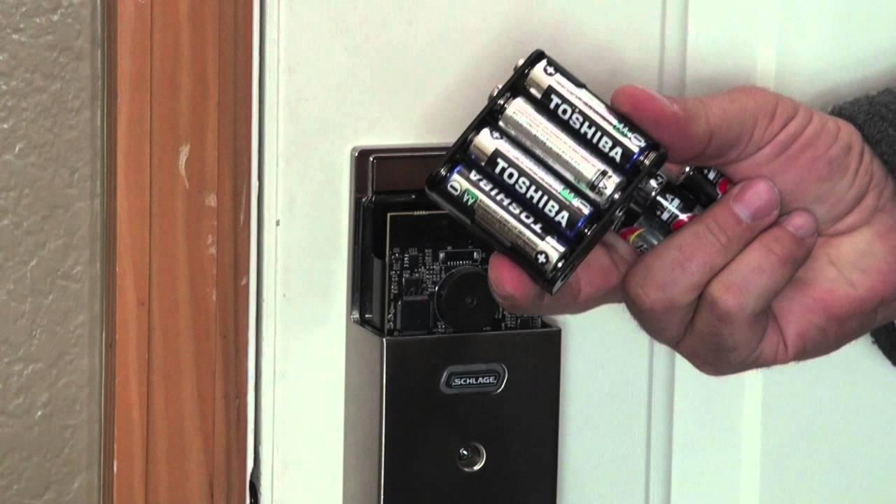 Schlage Touchscreen Deadbolt How To Change Batteries Youtube