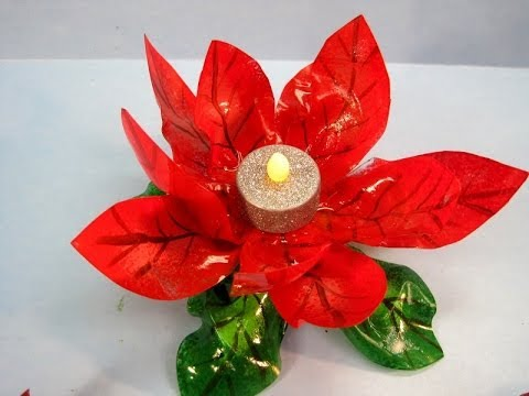 Recycled Poinsettia Candle Holder Featuring Miriam Joy