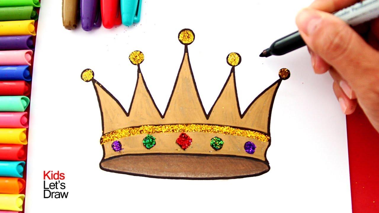 Cómo Dibujar Y Colorear Una Corona De Rey Con Brillantina Dibujos