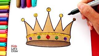 Cómo dibujar y colorear una CORONA DE REY con brillantina | Dibujos para Niños