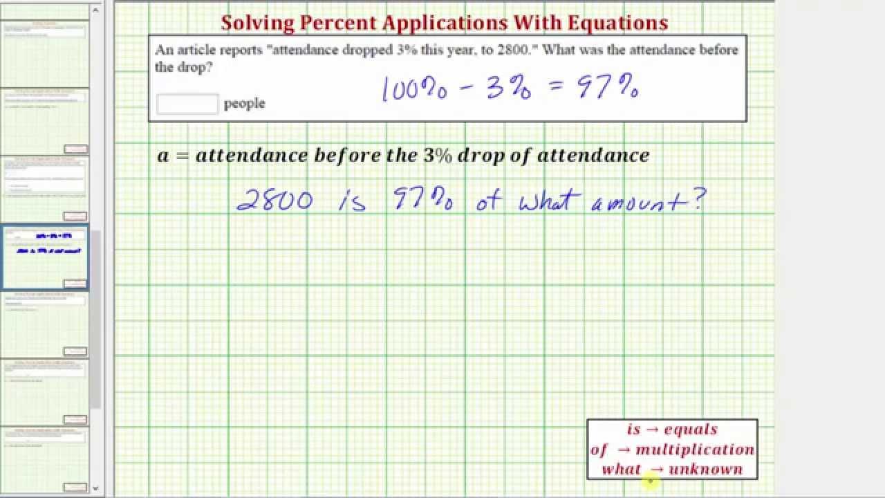 Ex: Find The Original Amount Before A Percent Decrease  Attendance Drop