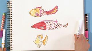 Kijk Hoe teken je vissen filmpje