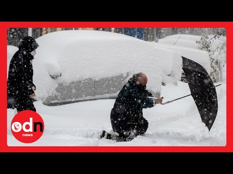 Travel CHAOS as Freak Blizzard Covers Madrid in Deep Snow