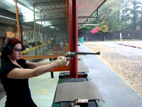 Pretty Girl Shooting A Freedom Arms .50 Cal Revolver For The First Time