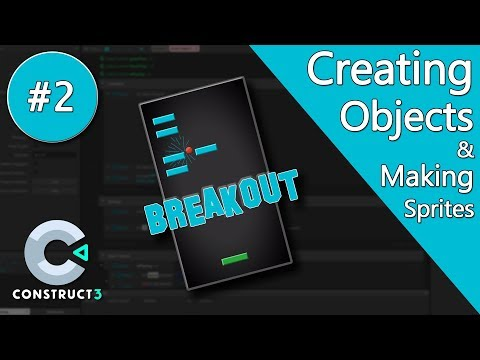 Construct 3 Tutorial part 2 - Brick Breaker / Breakout Game - making objects and sprites - no coding thumbnail