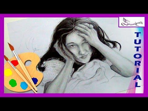 Como Dibujar Simpática Mujer  Retrato en Grafito - tutorial dibujo artistico