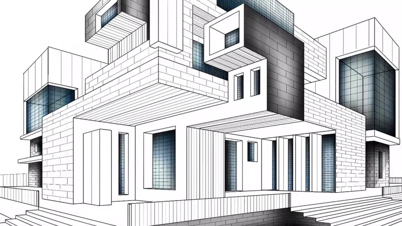 MODERN ARCHITECTURE DRAWING PROCREATE APP