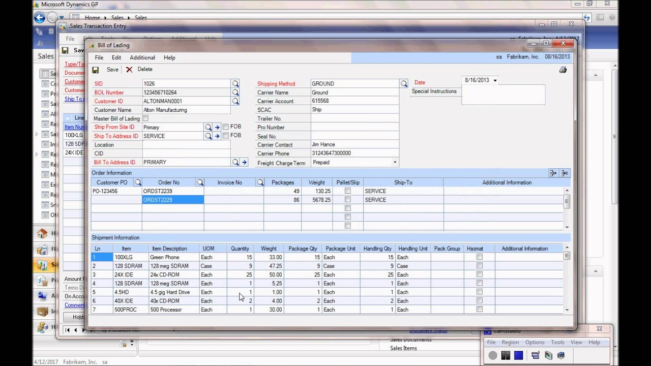 Dynamics GP Bill Of Lading Add In   YouTube  Bill Of Lading Template Excel