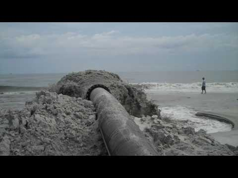 Dredged Materials from Ponce Inlet Pumped onto Beach