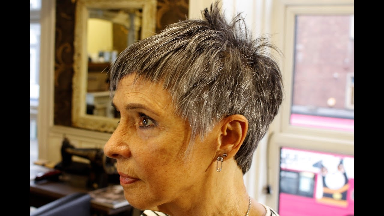 How To Cut Short Funky Pixie Hair On Grey Hair Textured Crop Choppy