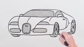 How To Draw Bugatti Sports Luxury Car - Easy Drawing Cars - Basit Bugattİ Spor A