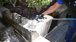 High pressure cleaning test in 1 Treasury Place Melbourne