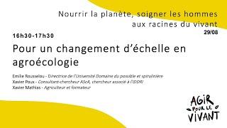 Pour un changement d'échelle en agroécologie