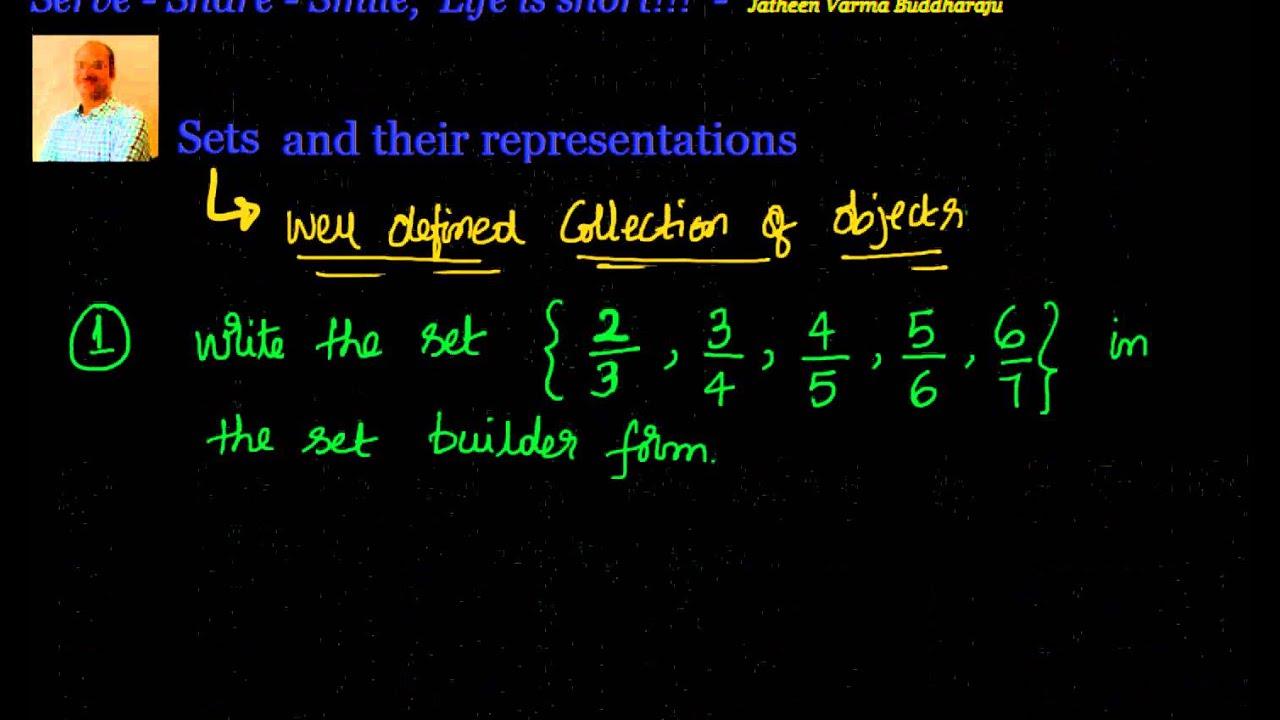 Sets - Representation of sets - Set builder form and Roster form ...